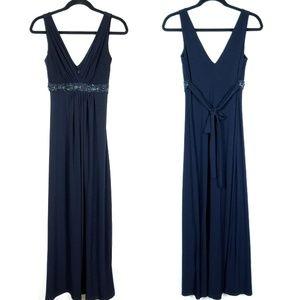 B.Darlin Navy Blue Sequin Beaded Maxi Dress